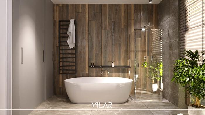 łazienka loft industrial z wanną i prysznicem